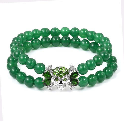 Limited Edition- Green Jade, Russian Diopside and Natural White Cambodian Zircon Stretchable Bracele