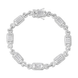 ELANZA Simulated Diamond (Bgt) Bracelet (Size 7.75) in Rhodium Overlay Sterling Silver, Silver wt 12