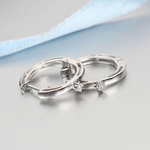 One Time Deal- Diamond Hoop Earrings in Platinum Overlay Sterling Silver