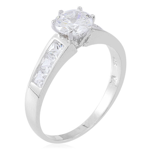 ELANZA Simulated White Diamond (Rnd) 2 Ring Set in Rhodium Plated Sterling Silver 4.000 Ct.
