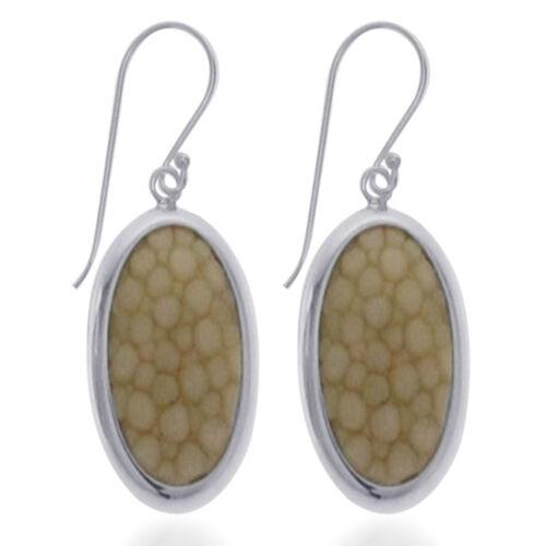 Light Yellow Stingray Leather Hook Earrings