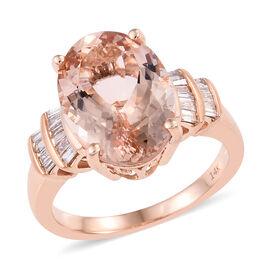 14K Rose Gold AAA Marropino Morganite (Ovl 14x10 mm), Diamond Ring 5.250 Ct.
