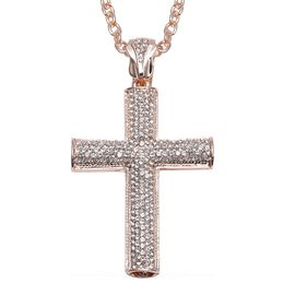 White Austrian Crystal Cross Pendant with Chain (Size 28 with 3 inch Extender) in Rose Gold Tone