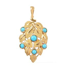 0.91 Ct Arizona Sleeping Beauty Turquoise Leaf Pendant in Gold Plated Sterling Silver 5.10 Grams