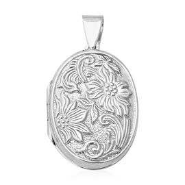 One Time Close Out Deal- Thai Sterling Silver- Sterling Silver Floral Engraved Locket, Silver wt 6.7