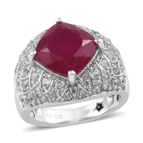 GP African Ruby (Cush 10x10 mm), Natural Cambodian Zircon and Blue Sapphire Ring in Platinum Overlay
