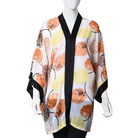 Leaf Pattern Kimono (Size 83.8x71.1 Cm) - Brown and Black Colour (One Size Fits All)