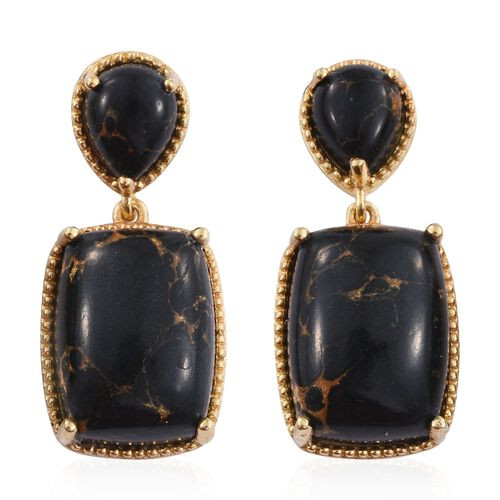 Arizona Mojave Black Turquoise (Cush) Earrings (with Push Back) in 14K Gold Overlay Sterling Silver 24.000 Ct.