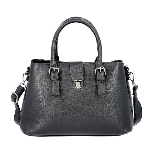 100% Genuine Leather Handbag with Detachable Shoulder Strap and Zipper Closure (Size 30x12x20cm) - B
