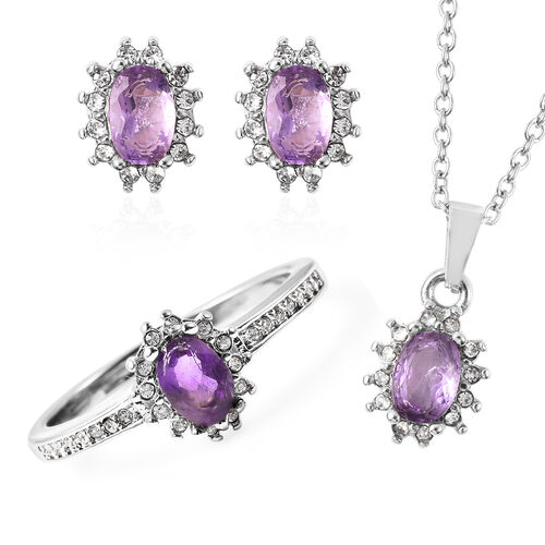 3 Piece Set - Amethyst and White Austrian Crystal Ring, Earrings (with Push Back) & Pendant with Cha