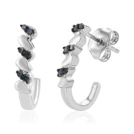 Blue Diamond (Rnd) Earrings (with Push Back) in Platinum Overlay Sterling Silver 0.120 Ct.