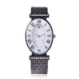 STRADA Japanese Movement White Austrian Crystal Studded Water Resistance Cuff Bangle Watch (Size 6.5