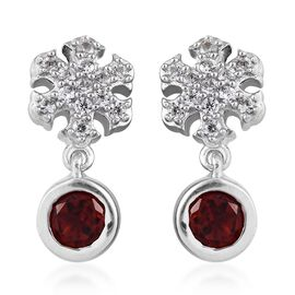 Mozambique Garnet (Rnd), Natural Cambodian Zircon Snowflake Earrings (with Push Back) in Platinum Ov