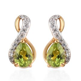 AA Hebei Peridot and Natural Cambodian Zircon Earrings (with Push Back) in 14K Gold Overlay Sterling