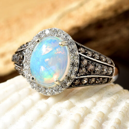 Ethiopian Welo Opal (Ovl 10x8 mm), Chocolate Zircon and Natural Cambodian Zircon Ring in Platinum and Black Overlay Sterling Silver 2.500 Ct.
