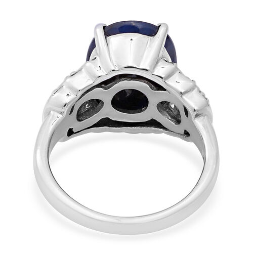 Kanchanburi Blue Sapphire (Ovl 14x10mm) and Natural Cambodian Zircon Ring in Sterling Silver 7.89 Ct.