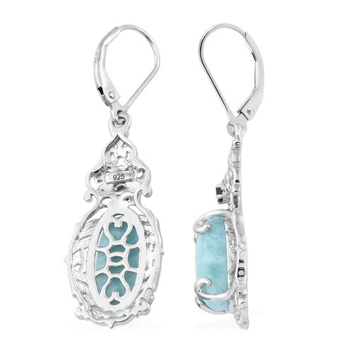 Larimar (Ovl), Kanchanaburi Blue Sapphire Lever Back Earrings in Platinum Overlay Sterling Silver 7.500 Ct. Silver wt 5.39 Gms.