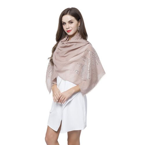 Silver Sequins Embellished Khaki Colour Scarf with Fringes (Size 180X70 Cm)