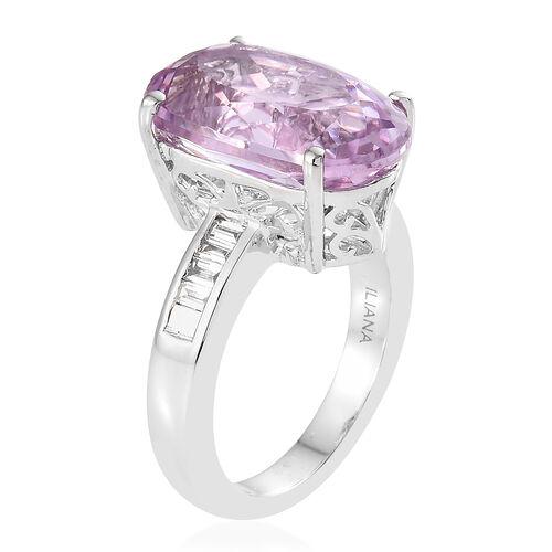 ILIANA 18K White Gold AAA Kunzite (Ovl 9.05 Ct), Diamond (SI/G-H) Ring 9.250 Ct, Gold wt 6.40 Gms.