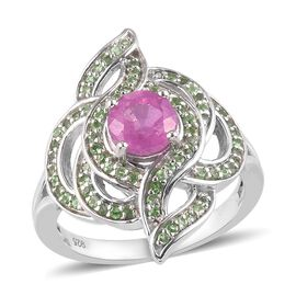 Fissure Filled Pink Sapphire and Tsavorite Garnet Ring in Platinum Overlay Sterling Silver 1.860 Ct.