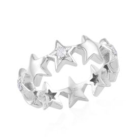 Natural Cambodian Zircon (Rnd) Star Ring in Platinum Overlay Sterling Silver 0.100 Ct.