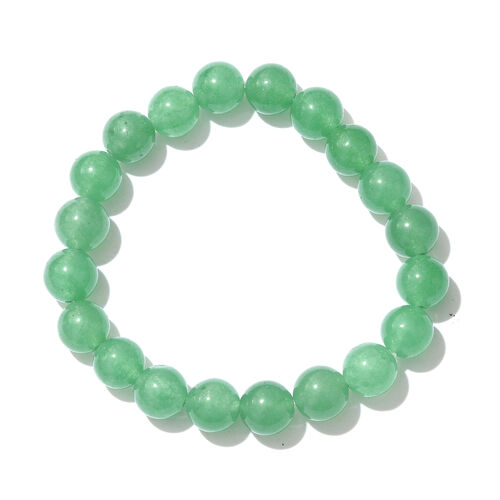 Set of 2 - Green Aventurine Hook Earrings and Bracelet (Size 7.5) in Platinum Overlay Sterling Silver 125.000 Ct.