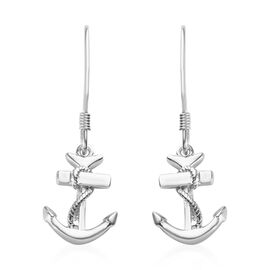 Platinum Overlay Sterling Silver Anchor and Rope Hook Earrings