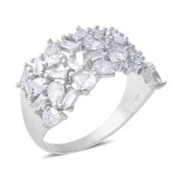ELANZA Simulated Diamond (Pear) Ring in Rhodium Overlay Sterling Silver