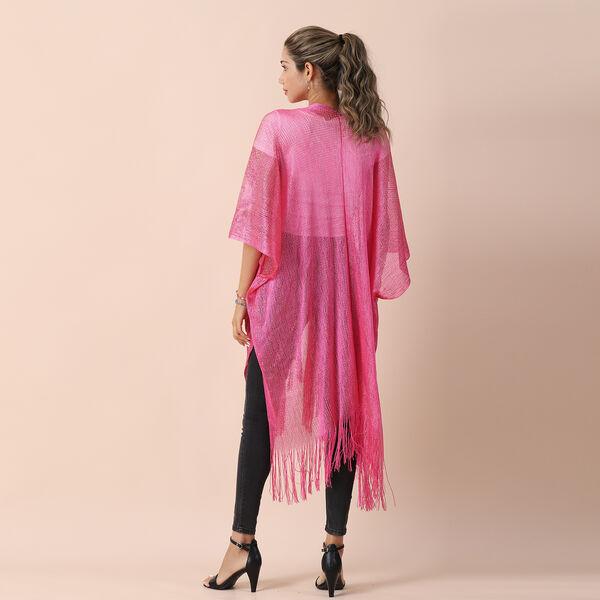 JOVIE Lurex Kimono with Tassel (Size:90x90cm) -Pink