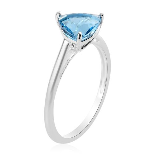 Swiss Blue Topaz Solitaire Ring in Sterling Silver 1.47 Ct.