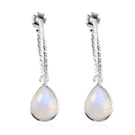 Artisan Crafted Rainbow Moonstone (Pear) Detachable Earrings (with Push Back) in Sterling Silver 9.3