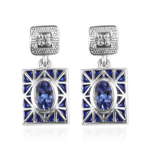 Tanzanite and Natural Cambodian Zircon Dangling Enamelled Earrings (with Push Back) in Platinum Over