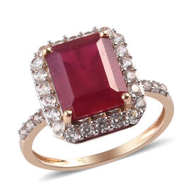 9K Yellow Gold African Ruby (Oct 10x8) and Natural Cambodian Zircon Ring 6.00 Ct.