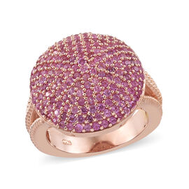 Pink Sapphire (Rnd) Cluster Ring (Size T) in Rose Gold Overlay Sterling Silver 3.000 Ct, Silver wt 6.26 Gms,