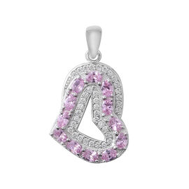 ELANZA Simulated Pink Sapphire (Ovl), Simulated Diamond Heart Pendant in Rhodium Overlay Sterling Silver