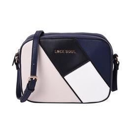 LOCK SOUL Colour Block Pattern Crossbody Bag - Black, White and Navy