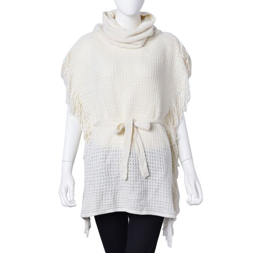 Cream Colour Poncho with Waistband (Size 65X55 Cm)