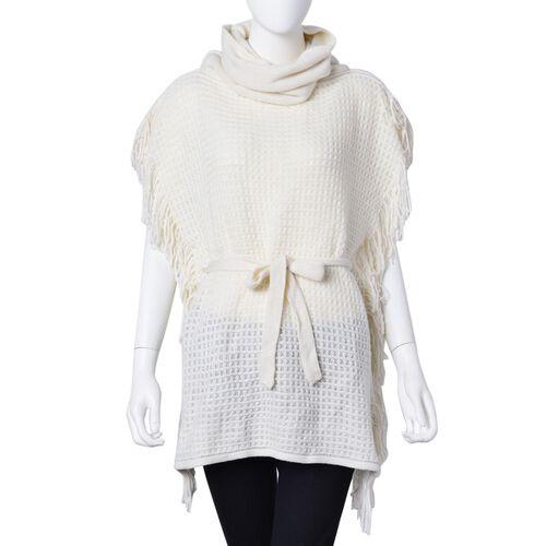 Cream Colour Poncho with Waistband (Size 65X55 Cm)