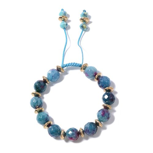 Blue Quartzite, Simulated Sapphire and Multi Colour Beads Adjustable Bracelet (Size 6.50 to 9.50) 15