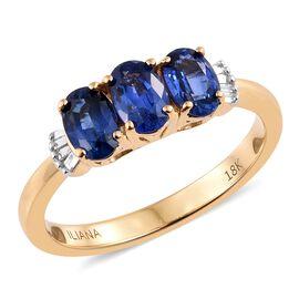 ILIANA 18K Yellow Gold AAA Royal Ceylon Sapphire (Ovl), Diamond (SI/G-H) Ring 1.750 Ct.