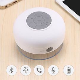 Multi Use Rain / Splash Proof Wireless Bluetooth Stereo Speaker with Built-in Mic. - White