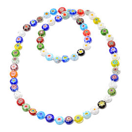 One Time Mega Deal-Multi Colour Murano Style Glass Necklace (Size 35)