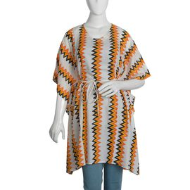 100% Cotton Ornage and Multi Colour Chevron Print Poncho (Size 100x90 Cm)
