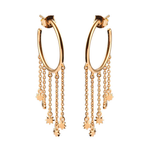 Sundays Child - 14K Gold Overlay Sterling Silver Star Dangling Earrings (with Push Back)