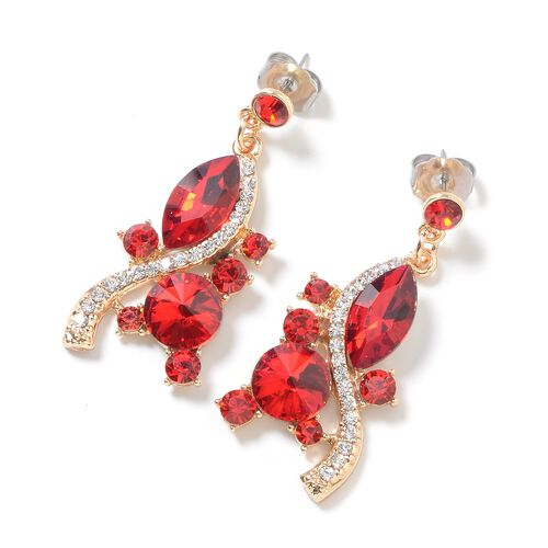 2 Piece Set - Simulated Red Garnet, Red and White Austrian Crystal Necklace (Size 18 with 3 inch Extender) and Earrings (with Push Back) in Silver Tone