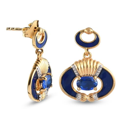 Tanzanian Blue Spinel Enamelled Dangling Earrings (with Push Back) in 14K Gold Overlay Sterling Silver 1.00 Ct.