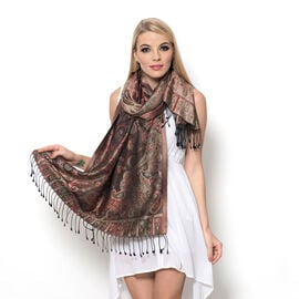 100% Superfine Silk Paisley Pattern Chocolate Colour Jacquard Jamawar Scarf with Fringes (Size 175x7