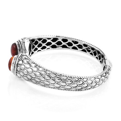 Bali Legacy Collection Amber (Rnd) Cuff Bangle (Size 7) in Sterling Silver.Silver Wt 25.00 Gms