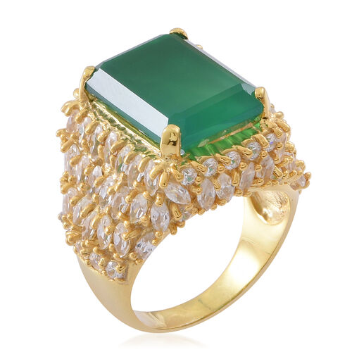 Verde Onyx (Oct 13.25 Ct), Natural White Cambodian Zircon Ring in 14K Gold Overlay Sterling Silver 21.500 Ct. Silver wt 10.80 Gms.