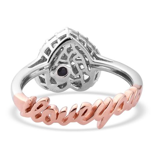 GP Diamond and Blue Sapphire Heart and ILoveYou Ring in Rose Gold and Platinum Overlay Sterling Silver